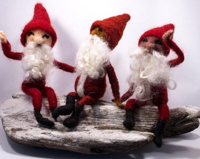 Bendy Santa Gnome, Waldorf Santa, Waldorf Gnome