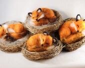 Needle felted sleeping fox, fox kits, felted animal, fox sculptures