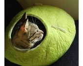 Cat bed, cat house, cat cave. Size L. Natural felted sheep wool. Color birch green. Made by kivikis.