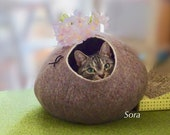 Cat bed, cat house, cat cave. Size XL. Natural sheep wool. Felted. Color sand brown. Made by kivikis.