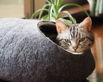 Cat bed, cat house, cat cave. Size XL. Natural felted sheep wool. Color dark grey. Made by kivikis.