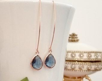 Classic Blue Earrings Navy Blue Sapphire earrings  Champagne Peach Rose Gold Earrings Wedding Jewelry Bridesmaid Gift  Sapphire Earrings
