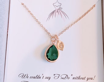 Birthstone Jewelry letter charm Necklace Emerald Personalized Jewelry Gifts for Her Personalized Necklace Birthday gift  Bridesmaid Gift