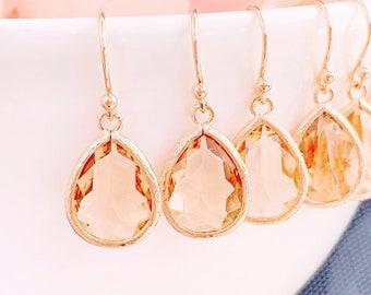 Champagne Earrings, Rose Gold Earrings, Bridesmaid Jewelry Bridesmaid Gift , Bridal Earrings, Blush Peach Wedding earrings, Prom Earrings