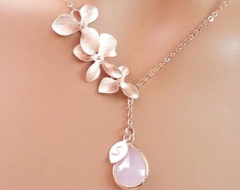 Orchid Flower Necklace, Personalized Necklace, Birthstone Necklace, Pink Opal Necklace, Personalized Gift, Mother's Day Gift, Gift for her