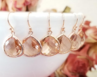 Champagne rose GOLD Earrings, Blush wedding earrings, Peach GOLD Dangle Earrings statement jewelry Wedding Gift Bridal Gift Bridesmaid Gifts