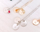Personalized Jewelry Initial Birthstone Necklace Gold Pendants Layered Necklace Personalized Gift for Mom Valentine Gift for Girl Friend