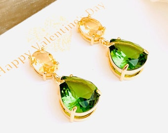 August birthstone crystal healing drop earrings Peridot and Bird skull earrings gift heart chakra peridot gemstone