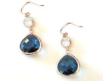 Sapphire Earrings, Navy Wedding Earrings, bridesmaid gift, bridal Earrings, Gold Earrings, Bridesmaid gift, Sapphire Earrings