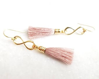 Tassel Earrings, Blush Pink Beige earrings, Infinity Earrings, Bridesmaid gift