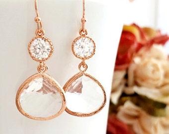 Drop Earrings Bridesmaid Earrings Rose Gold Jewelry Bridesmaids Jewelry Gift Dangle Earrings Bridesmaid gift