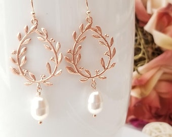 Rose Gold Pearl Earrings, Laurel wreath Dangle Earrings Pearl Wedding Bridal Earrings Bridesmaid Earrings Bridesmaid party Gifts