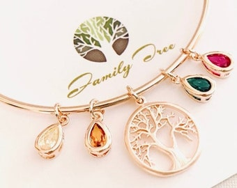 Birthstone Bracelet For Mom Gift Grandma Gift Unique Gift Family Tree Bracelet Personalized Gift birthstone jewelry mothers day gift