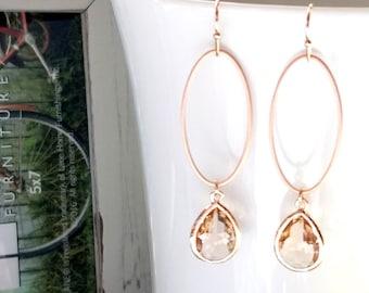Rose Gold earrings, Champange Earrings, Blush Earrings, Peach earrings, Gold earrings, Bridesmaid Gift, Wedding Earrings, Chirstmas gift
