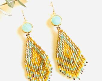Gold summer Tassel Earrings,  Long Statement earrings, Beaded Tassel earrings, Geometric earrings, Beach earrings, 2021 summer trend