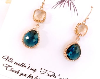 Sapphire Rose Gold Earrings Blush Champagne Earrings Sapphire Earrings Navy Blue Earrings Peach Bridesmaid Earrings Wedding Bridesmaid Gifts