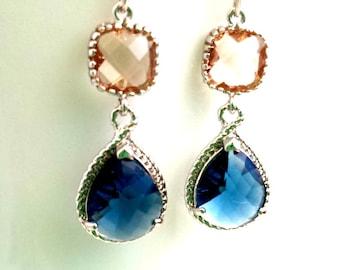 Navy Earrings, Peach Earrings, Sapphire Earrings, Wedding Jewelry Bridal Earrings Dangle drop Earrings Sapphire Earrings Bridesmaid Gift