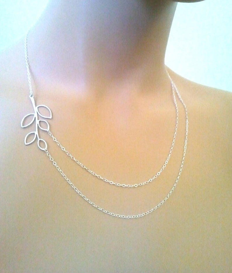 LEAF Necklace Double Strand,lariat Bridal Jewelry Gift for Her Wedding Necklace Bridesmaid Gift Branch Statement Necklace GIFT