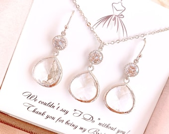 Bridesmaid Earrings Necklace Bridesmaid Gifts, Clear Crystal Wedding Earrings, Bridesmaid Gifts, Wedding Party Gift, Prom Earrings