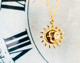 Sun Moon Necklace Gold Coin Necklace Celestial Jewelry Layered Necklace Opal Necklaces Birthday Gift for Her ready to ship gift