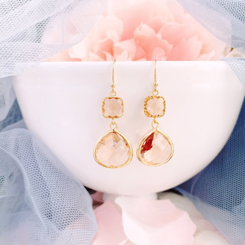 a5f498d7c9115 Champagne Earrings, ROSE GOLD Dangle Earrings , Peach Earrings, Bridesmaid  Earrings, Bridal Earrings, Bridesmaid Gift, Wedding Party Gifts