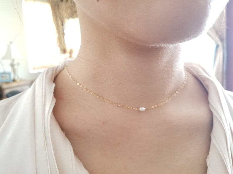 Delicate everyday necklace Pearl necklace Tiny Small Freshwater Pearl Necklace Gift June Birthstone Necklace Bridesmaid Gift