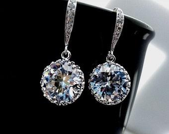 Wedding Earrings, Wedding Jewelry, Bridesmaid Jewelry, Bridesmaid Gift ,Bridal Jewelry, Drop, Dangle Earrings, Clear Earrings,Christmas Gift