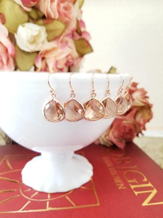 Peach Champagne  Blush Wedding Earrings  Champagne Bridesmaid Earrings  Gold Earrings  Bridesmaid Gift  Peach Dangle Earrings  Gift