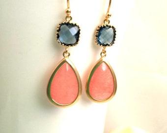 Coral Pink Gold earrings, Pink Wedding Earrings, Drop, Dangle earrings, NAVY EARRINGS, Bridesmaid Gift, Sapphire Earrings