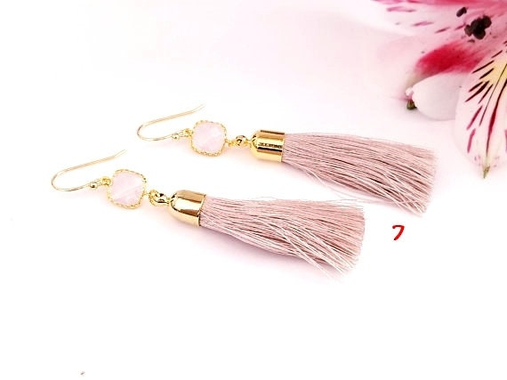 5c3f931139 20% Sale Opal Tassel Earrings Bar Earrings Rose gold