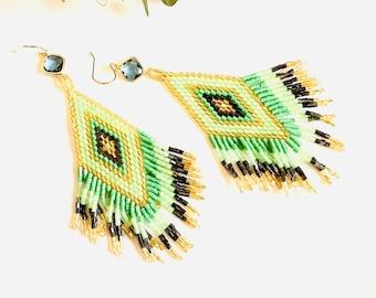 Green summer Tassel Earrings,  Long Statement earrings, Geometric earrings, Color block beach earrings, 2021 summer trend earrings