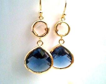 Sappire Drop Earrings, Navy, Wedding Jewelry Gold Champagne Blush Earrings, Navy Earrings, Peach Earrings, Dangle Earrings, Bridesmaid Gift