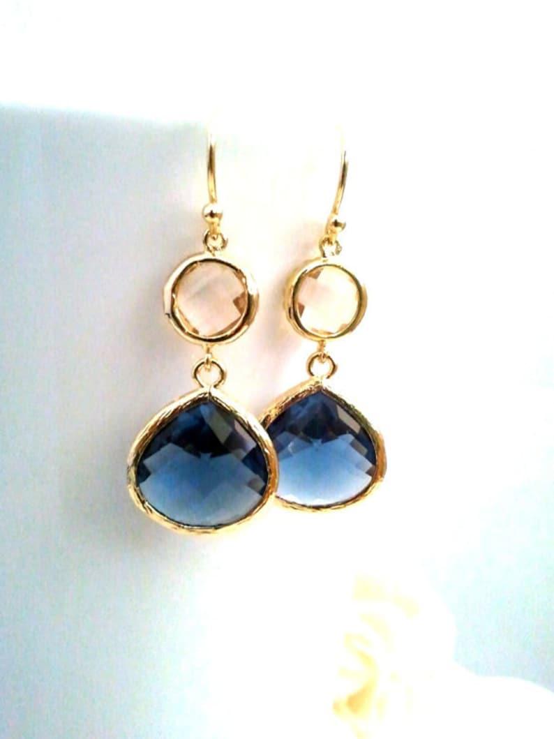 Sapphire Gold Earrings Champagne Blush Earrings Navy Blue image 0