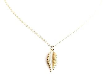 Leaf Necklace,14k Gold filled leaf pendant Necklace, Bridemaids Bridal Gift, Gift