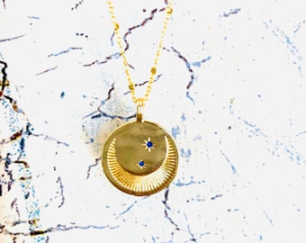 Moon Star Gold Coin Necklace Celestial Opal Jewelry Square Necklace Sun Necklace Eye Necklace Best Friend Birthday Gift Daughter Gift