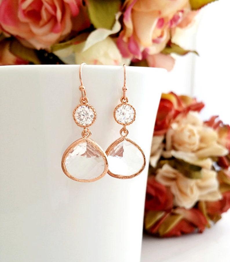 Rose gold Earrings Rose GOLD Earrings Rose Gold Jewelry image 1