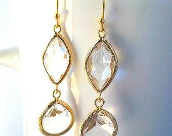 Clear Crystal Gold Earrings, Drop, Dangle Earrings, bridesmaid gifts, Clear Crystal, Bridesmaid jewelry,graduation gifts