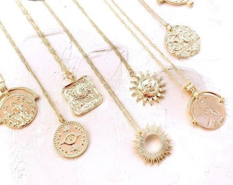 Gold Coin Necklace Opal Sun Necklace, Gold Layering Flower Necklace, Celestial Jewelry, Moon Necklace,  EYE necklace, Birthday Gift for Her