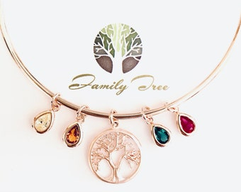 Personalized Gifts for Her, Birthstone Bracelet for Mom, birthstone Jewelry, grandma gifts, Family tree bracelet, birthday gift for her