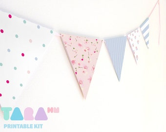 Paper Bunting, Paper Garland, Set of 8, DIY Printable Wall Decor, Baby Shower, Shabby Chic Party Decor Cottage,TaraBunting, Instant Download