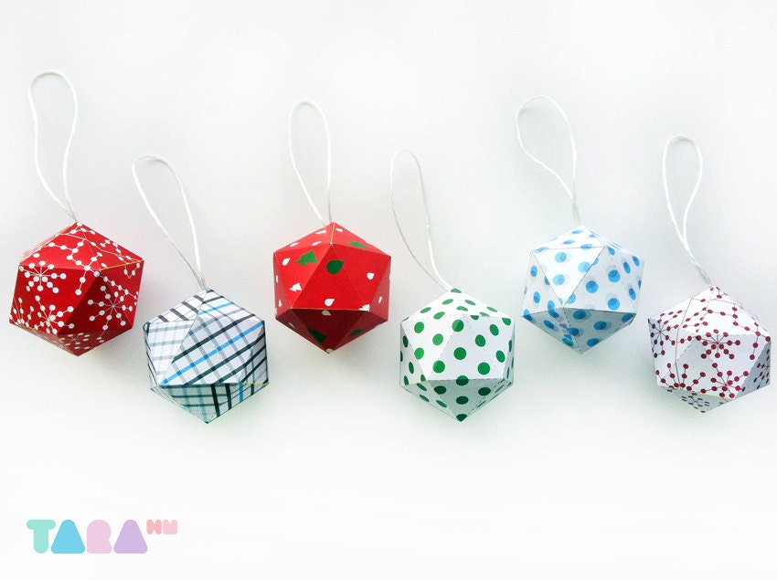 Diy Christmas Balls Set Of 6 Printable Cutout Printable Christmas Ornament Diy Paper Toy Taraballs Educational Toy Instant Download