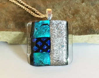 Square Dichroic Glass Pendant with Turquoise and Silver