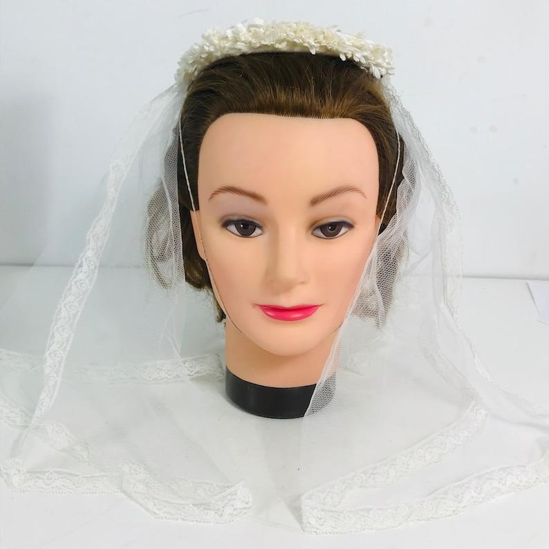 49dbe32eb7ea6 Vintage Wedding Bridal Hat With Veil White Veil Mesh Flowers