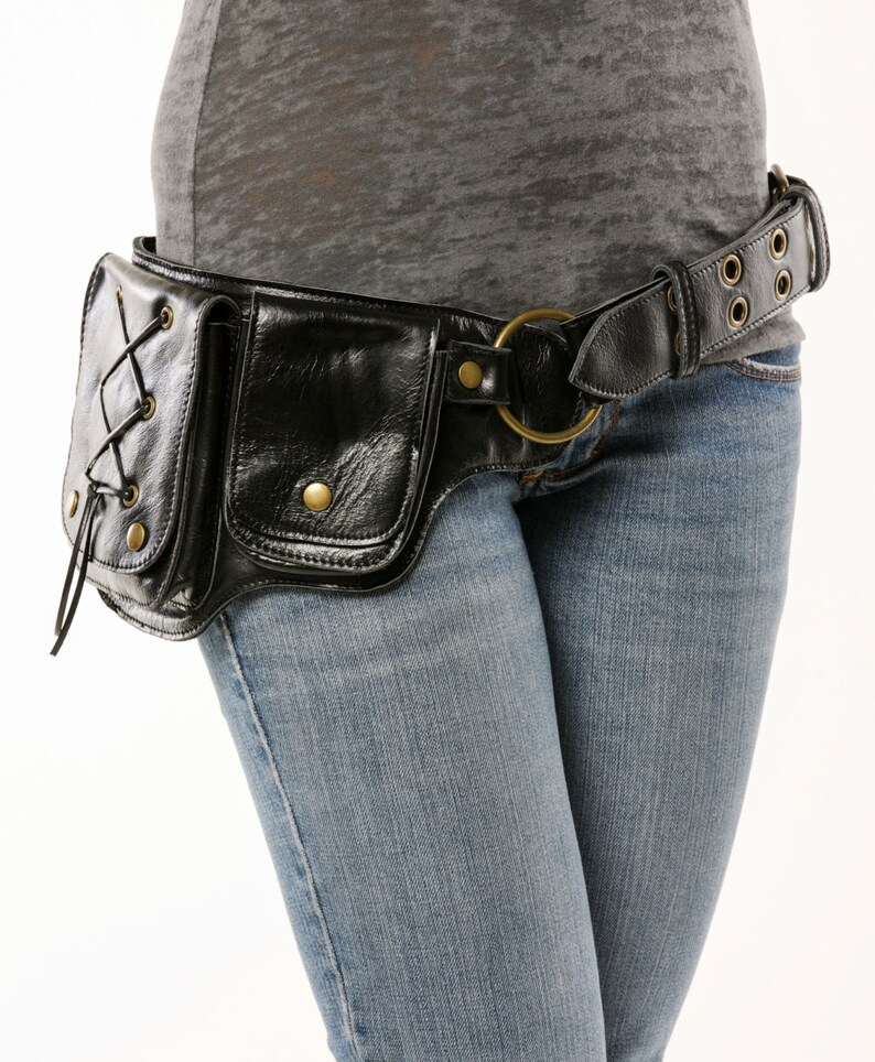 3bac465150c Hip Pack Lace Design Leather Utility Belt Black Great