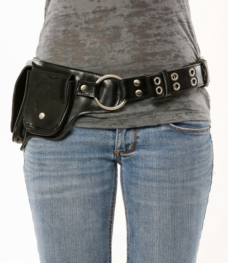 4f68d42df495 Hip Pack Leather Utility Belt - Black/Chrome (Unique, versatile. Great  storage. Large enough to store most ANY phone on the market)