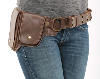 Hip Pack Leather Utility Belt - Bomber Brown (Largest pockets of most any belt on the market, great for phones, functional and beautiful)