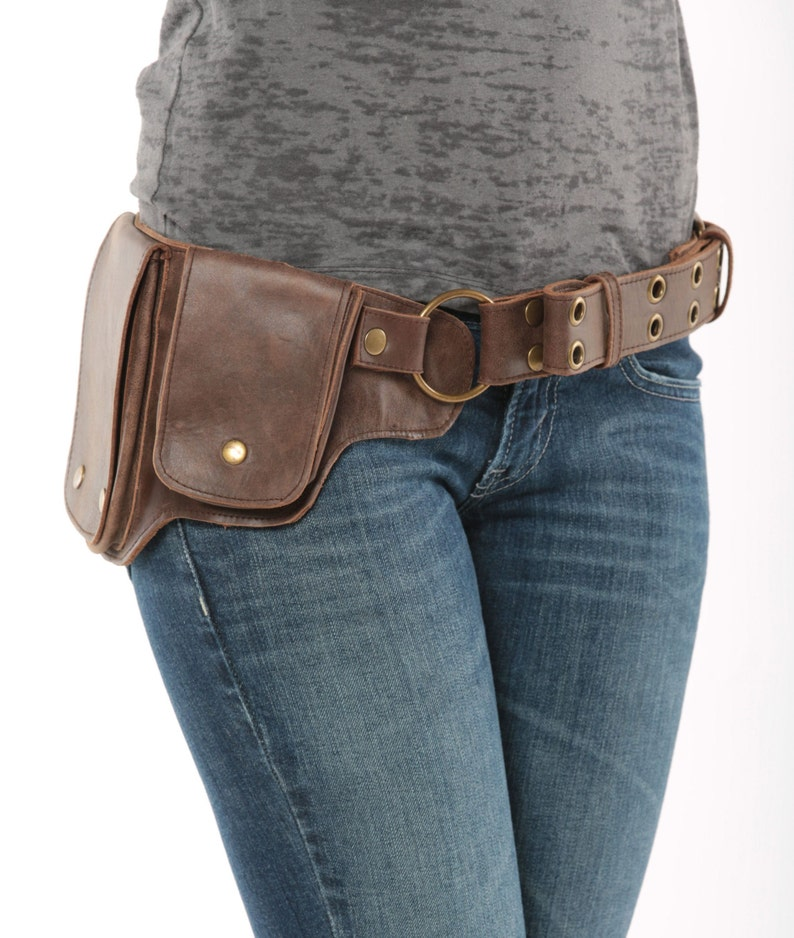 b3b30eb957e0 Hip Pack Leather Utility Belt - Bomber Brown (Largest pockets of most any  belt on the market, great for phones, functional and beautiful)