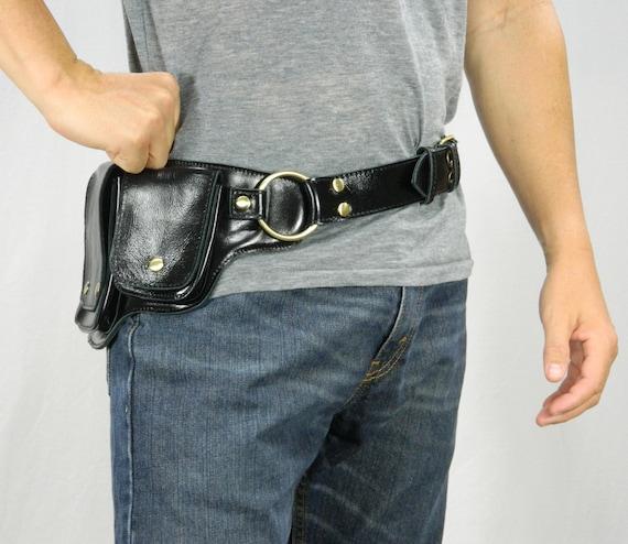Premium belt bag-buddy-black-brass colors-belly bag-hip pocket