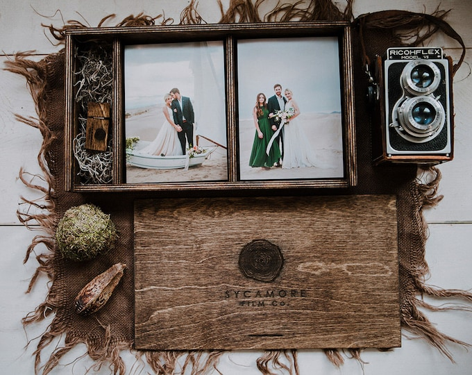 Double 5x7 - Wood print box for 5x7 photos and usb drive - (spanish moss included)