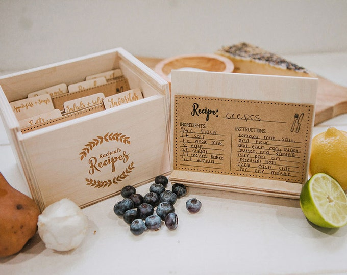 Wood Recipe Box for 3x5 recipe cards,  includes; 7 laser engraved wood dividers and 42 recipe cards